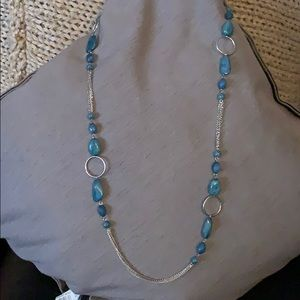 Turquoise bead and silver necklace